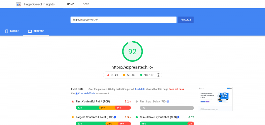 Increase the Page Speed Insights score