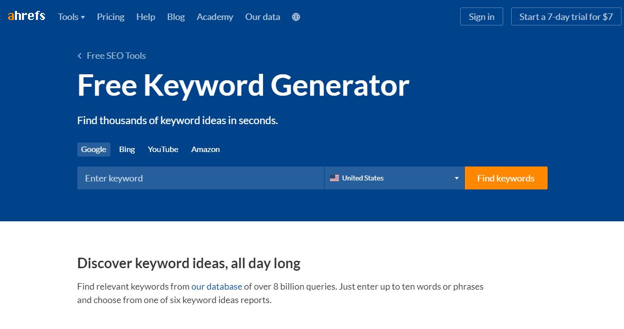 Free Tools for Keyword Research - Free Keyword Generator