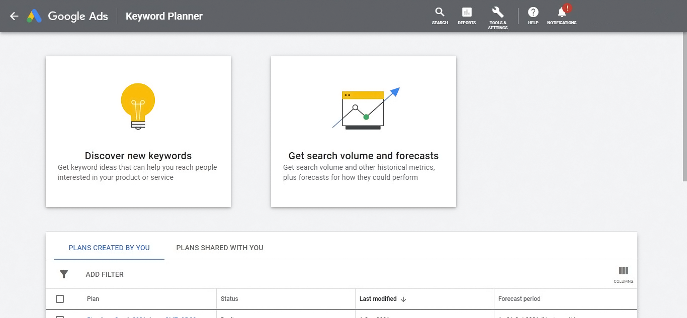 Free Tools for Keyword Research  - Google Keyword Planner