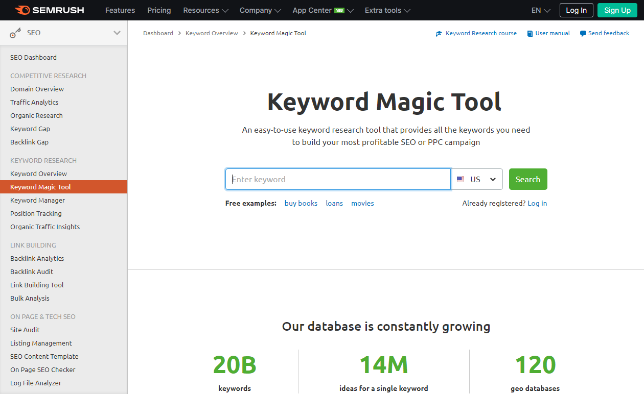 Free Tools for Keyword Research - Keyword Magic Tool