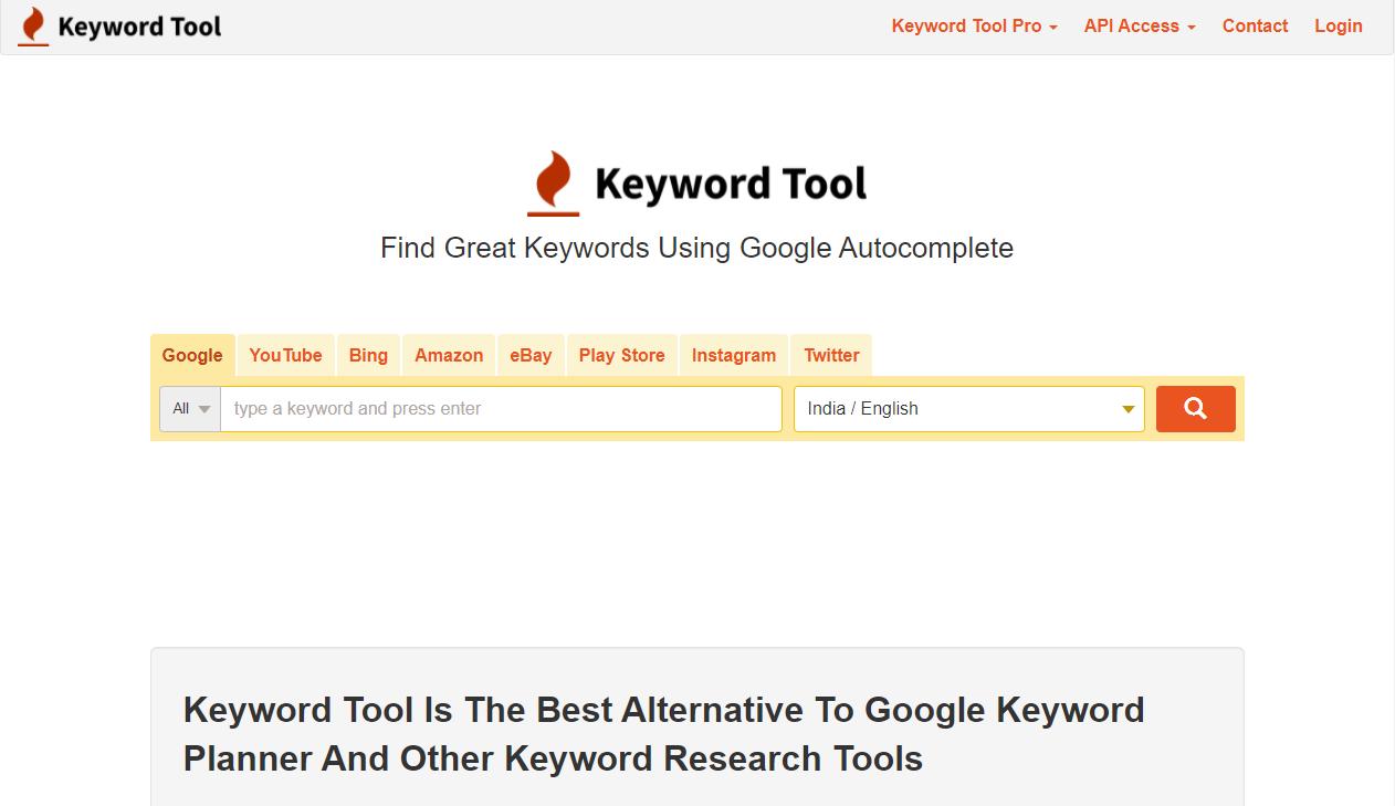 Free Tools for Keyword Research  Keyword Tool